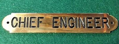 Nautical Brass Ships Chief Engineer Plaque Sign Solid Brass