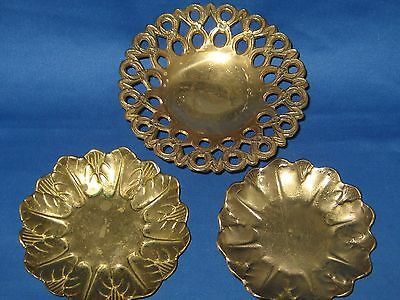 3 Antique German Heavy Solid Embossed  Brass Bowls/Plates  weigh 1.5 LBS