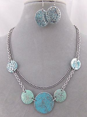 Metal Disk Necklace Set Silver Blue Green Layared Fashion Jewelry NEW
