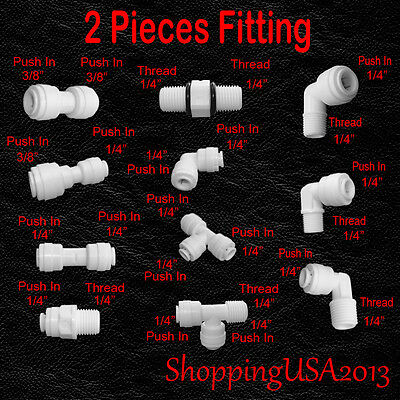 "2 Pcs Water Filter Connector Fitting Quick Connect  Push In Thread 1/4"" 3/8"" **"