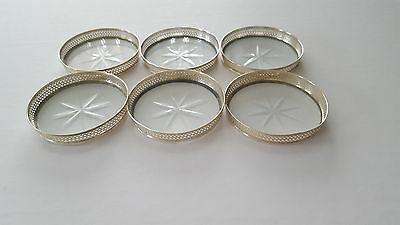 Webster Sterling Silver Set of 6 Cut Glass Coasters with Sterling Pierced Rims