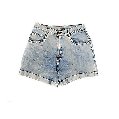 Vintage 80s High Waist Light Stone Wash Cuffed Denim Jean Grunge Shorts M 8