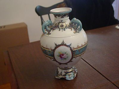 Gorgeous Antique Vase with Handpainted Girl & Flowers & Elephant Handles
