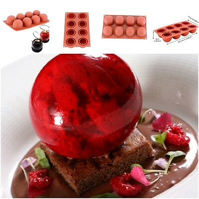 8 Holes High Ball Shaped Wine Red Silicone Cake Mold Baking Mousse Decoration