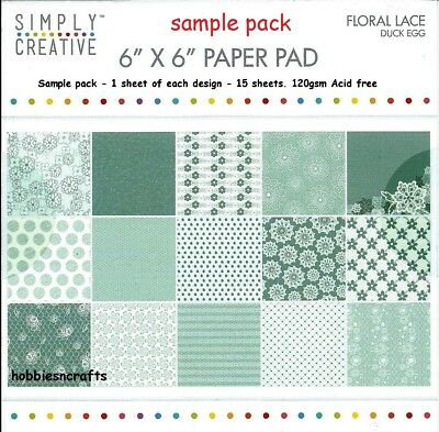 Simply Creative Floral Lace Papers 6 X 6 Sample Pack  - Duck Egg - 15 Sheets