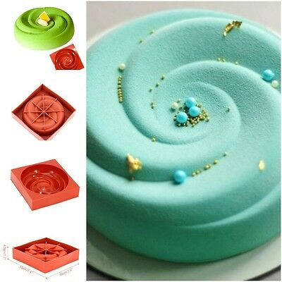 7'' Round Spiral Shaped Big Roses Silicone Mousse Pan Cake Mold Non Stick Baking