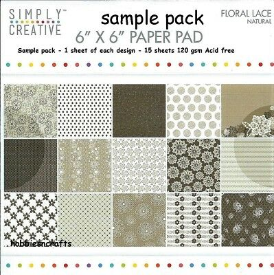 Simply Creative Floral Lace Papers 6 X 6 Sample Pack  - Natural - 15 Sheets