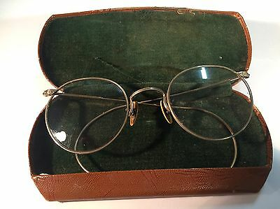 Vintage Gold Wire Rim Round Bifocal Eye glasses  A O 1/10 12KGF with case
