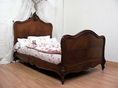 DELIGHTFUL ANTIQUE FRENCH ROCOCO CRESTED BED - c1900