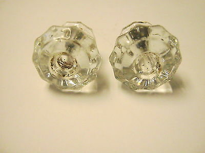 2 Antique Vintage Architectural Salvage Hardware Clear Glass Drawer Pull Knobs