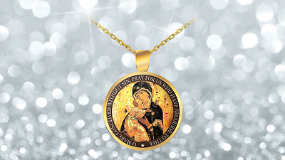 Virgin Mary Necklace, Mother Mary Necklace, Gold