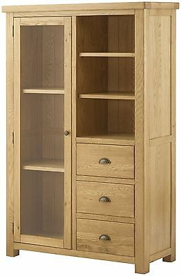 Oxford Solid Chunky Wood Rustic Oak Wide Large Open Bookcase Display Unit