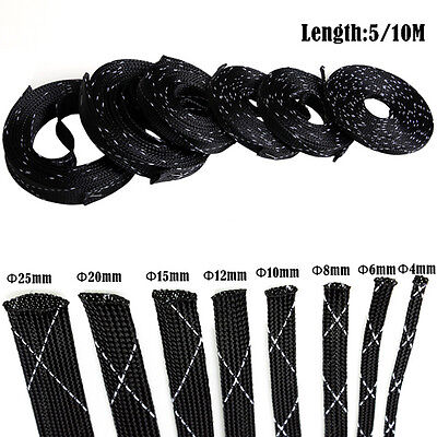 10M High Density Tight Braided Tubing PET Nylon Expandable Cable Wire Sleeving
