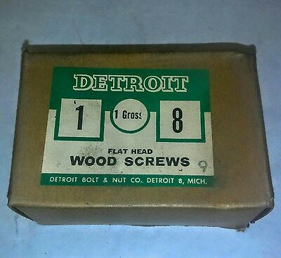 "VINTAGE ( DETROIT WOOD SCREWS FLAT HEAD )  (#8x1"" )  NEW IN BOX"