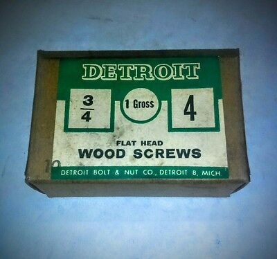 "VINTAGE ( DETROIT WOOD SCREWS FLAT HEAD )  (#4 x 3/4"" )  NEW IN BOX"
