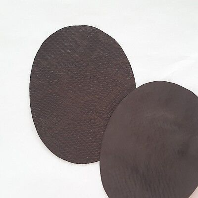 Snake Skin Faux Leather Chocolate Brown 2 Pcs Elbow Patches Oval Iron-on Heart