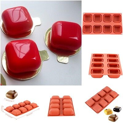 8 Cavity Square Gem Shaped Silicone Mold Baking Dessert Decorating Tools Non Hot