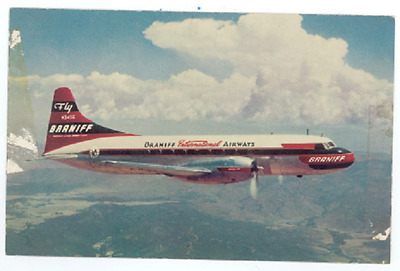 Braniff Convair 340 Postcard - Vintage 1950s International Airways Airlines Card