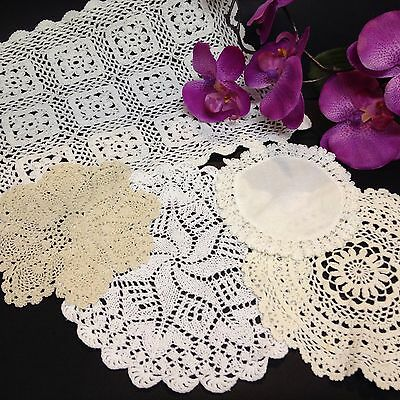5 x Assorted Vintage Rectangular & Round  Doilies. Each Very Different