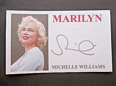"""""""Marilyn"""" Michelle Williams Autographed 3x5 Index Card"""