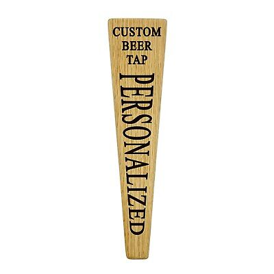 Tapered beer tap handle custom text engraved personalized natural oak wood.