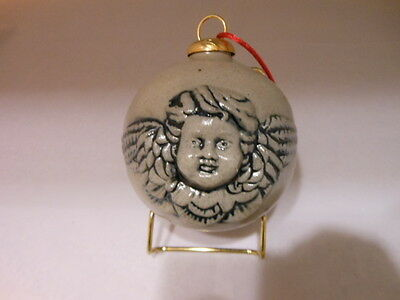 Large Rowe Pottery Cherub/Angel Face Salt Glaze Ornament 1998