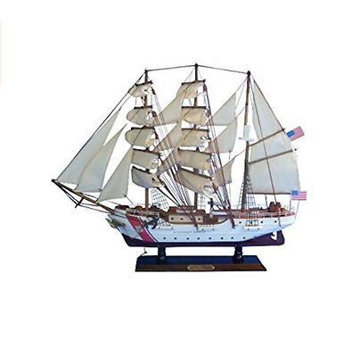 "USCG Eagle Navy Hampton Nautical Tall Ship 21"" Handcrafted Wooden Hull & Mast"