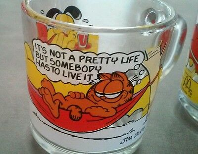 Vintage 70's McDonalds Jim Davis Garfield Odie Characters Glass Mug Lot of 2