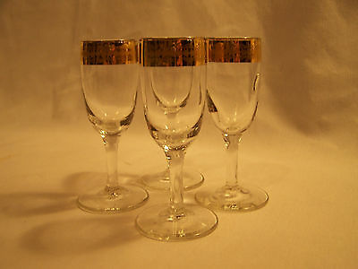 Thick Gold Rimmed Vintage Sherry Glasses