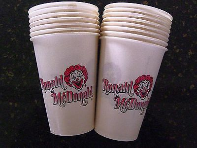 Vintage 1970's First Ronald McDonald Paper Cups 15x