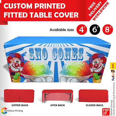 4' , 6' , 8' Table Cover FITTED Custom Printed, Trade Shows, EXPOs, Exhibition