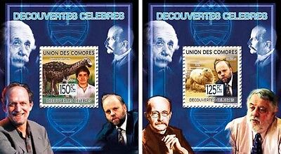 Z08 Cmdelux15perf COMORES 2010 Famous Discoveries 2 x s/s MNH