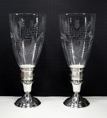 Pair ~ Gorham Sterling Silver Hurricane Candle Holders w/Cut Glass Hurricanes