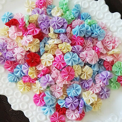 100PCS/lot Handmade colorful flower Kids Baby Girl bow DIY accessories (no clip)