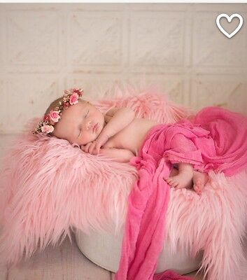 """Pink Mongolian  Faux Fur Photo Prop Newborn Nest 18""""x30"""" Inches  Photography"""