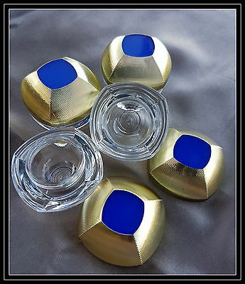 100 x 5 gram sample cosmetic jars - Elegant Acrylic jars with Gold and Blue Lids