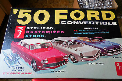 1950 FORD Convertible 3 in 1 by AMT, Vintage 1962 Original Sealed Box