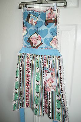 Reversible Handmade  I Love Lucy Candy Factory & Route 66 Apron Vintage Material
