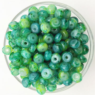 NEW 50PCS 6mm Glass Oblate Pearl Spacer Loose Beads Pattern Jewelry Making 30