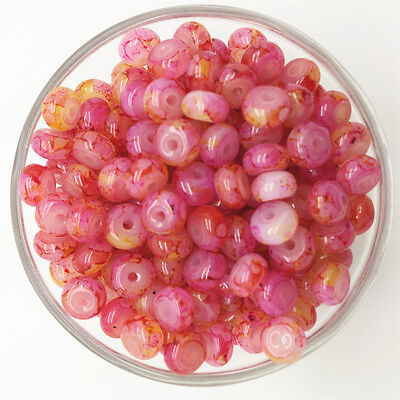 NEW 50PCS 6mm Glass Oblate Pearl Spacer Loose Beads Pattern Jewelry Making  07