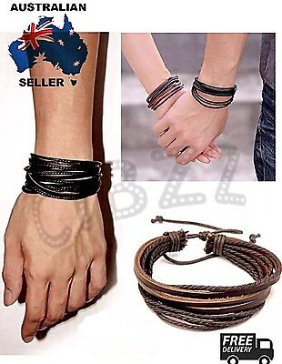 Mens Leather Bracelet Wristband Multi Layer Rope Braid Vintage Surf Wrap BROWN