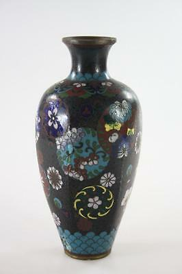 ANTIQUE JAPANESE MEIJI PERIOD CLOISONNE VASE 15 cm tall
