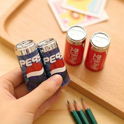 Mini Eraser Cute Pencil Sharpener Can Cola Drink