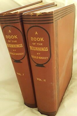 1881, BOOK OF THE BEGINNINGS, Gerald Massey, 2 Volumes, *ORIGINAL FIRST ed*