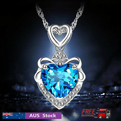 HOT! Women Fashion Necklace Ladies Jewelry Modern Blue Crystal Heart Pendant