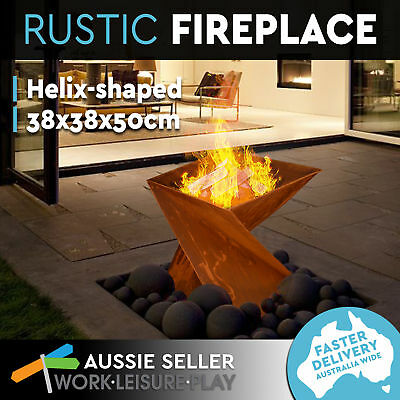 Vintage Fire Pit Rustic Helix Fireplace Open Outdoor Patio Firepit Heater 50CM
