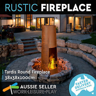 New Tardis Round Rustic Fire Pit Open Outdoor Fireplace Patio Firepit Heater 100