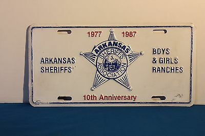 Arkansas Sheriffs' Association 1977 - 1987 10Th Anniversary Vanity Plate