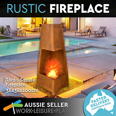 New Tardis Square Rustic Fire Pit Outdoor Firepit Fireplace Patio Heater 100CM