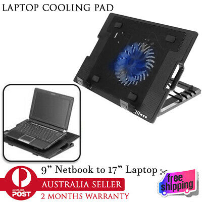 """New LED USB Adjustable Height Stand Pad Mesh Cooler For Laptop Notebook 7""""-17"""""""